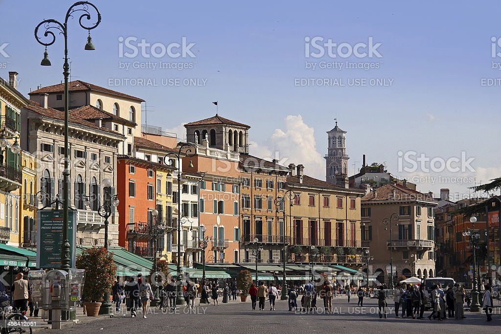 Piazza Bra in Verona stock photo