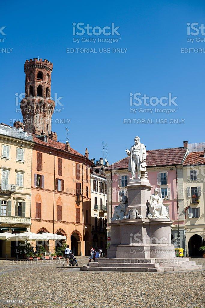 Piazza Cavour, Vercelli, Italy stock photo
