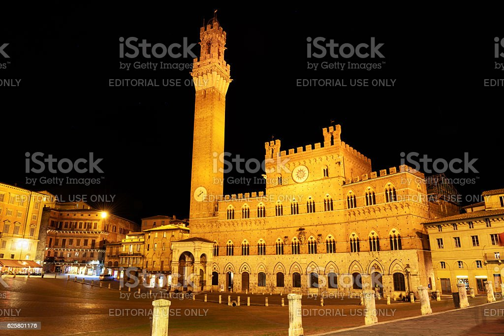 Piazza cel Campo and Torre del Mangia at night, Siena stock photo