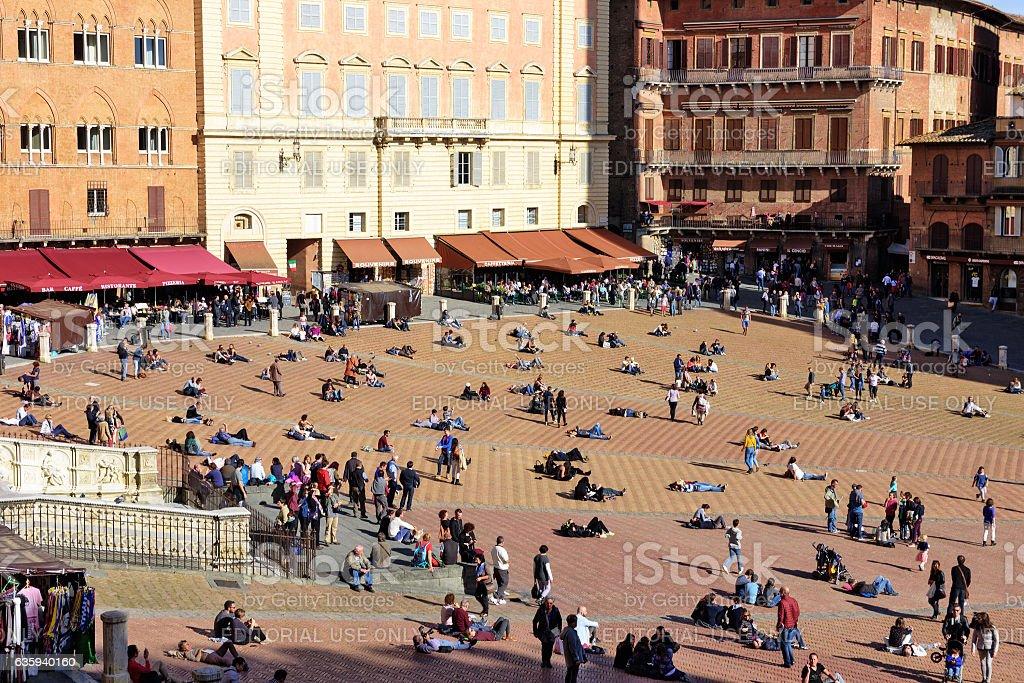 Piazza cel Campo,  Siena, many people stock photo