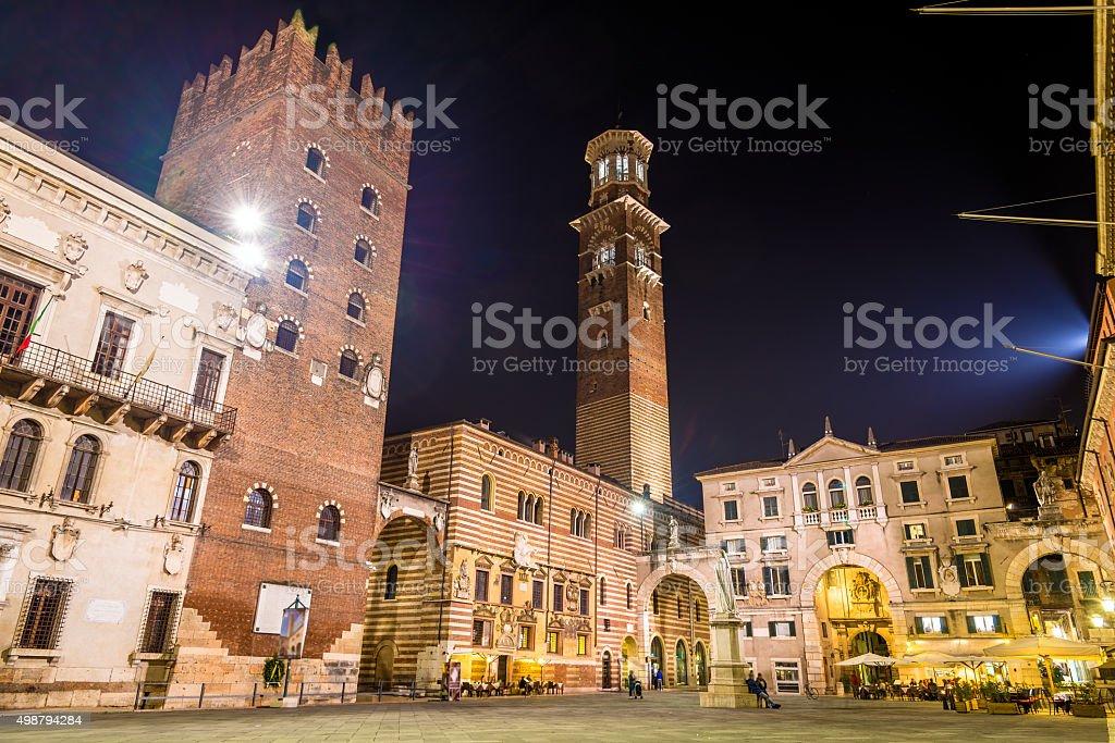 Piazza dei Signori (Piazza Dante) in Verona - Italy stock photo