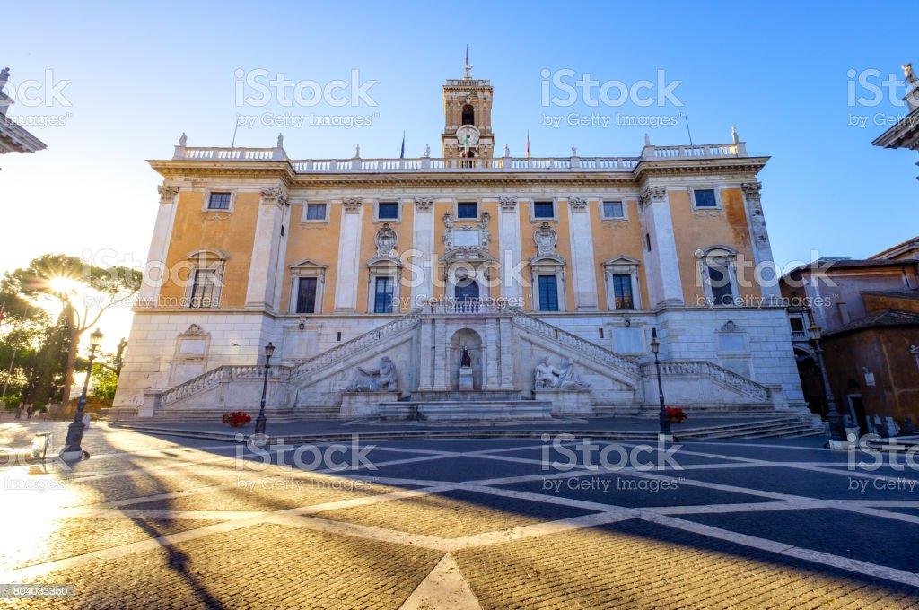 Piazza del Campidoglio on the top of Capitoline Hill, Rome stock photo