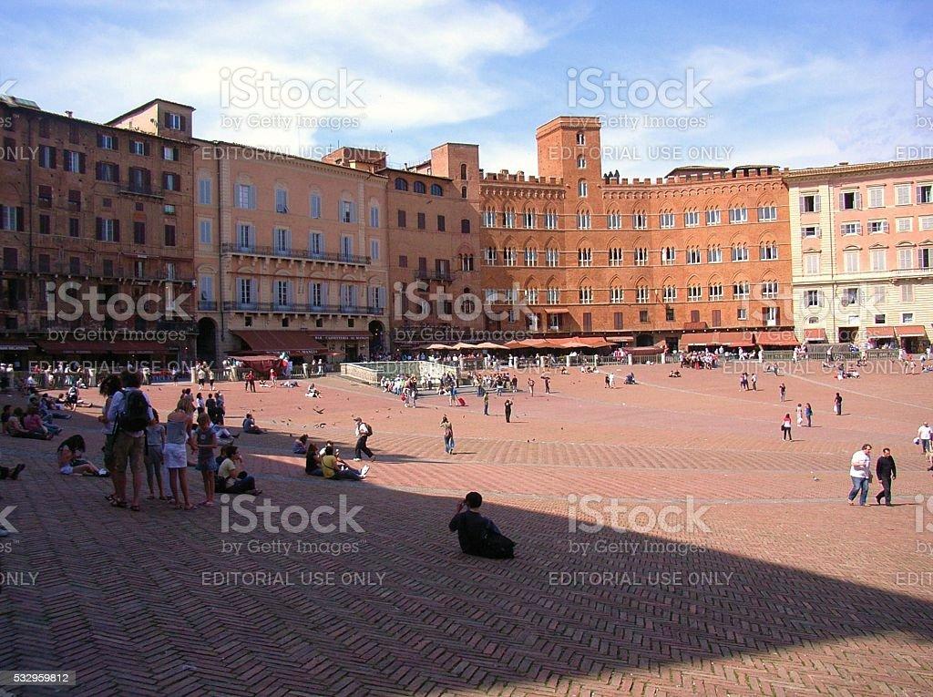 Piazza del Campo a Siena stock photo