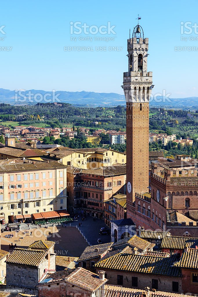 Piazza del Campo and tower, Siena, Italy stock photo