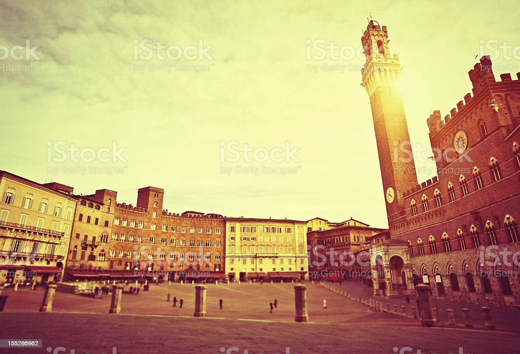 Piazza Del Campo At Sunset stock photo