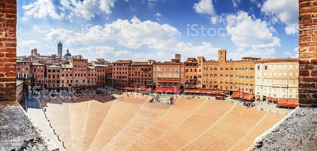 Piazza del Campo in Siena, Wide Panorama XXXL stock photo