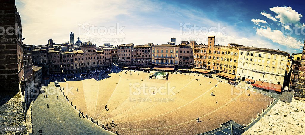 Piazza del Campo of Siena, Aerial View, Italy Landmark royalty-free stock photo
