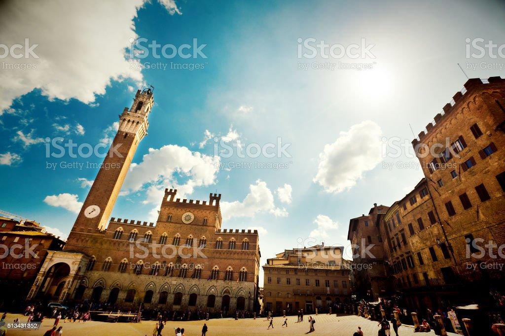 Piazza del Campo of Siena, Tuscany, Italy stock photo