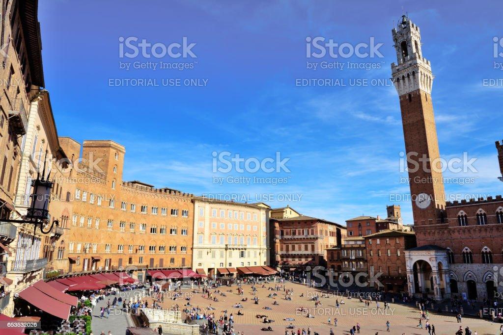 Piazza del Campo, Torre del Mangia, Siena, Italy stock photo