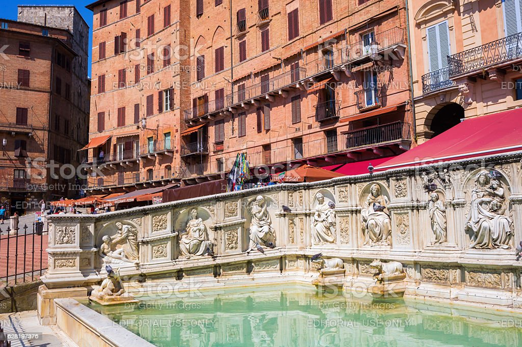 Piazza del Campo with Fonte Gaia in Siena, Italy stock photo