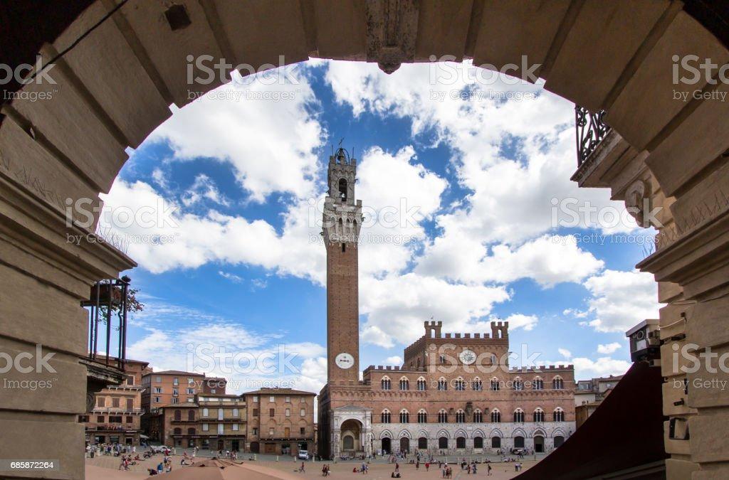 Piazza del Campo with Palazzo Pubblico, Siena, Italy stock photo