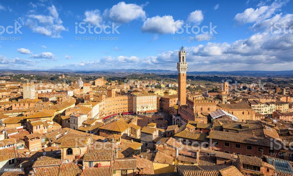 Piazza del Campto, Old Town of Siena, Tuscany, Italy stock photo