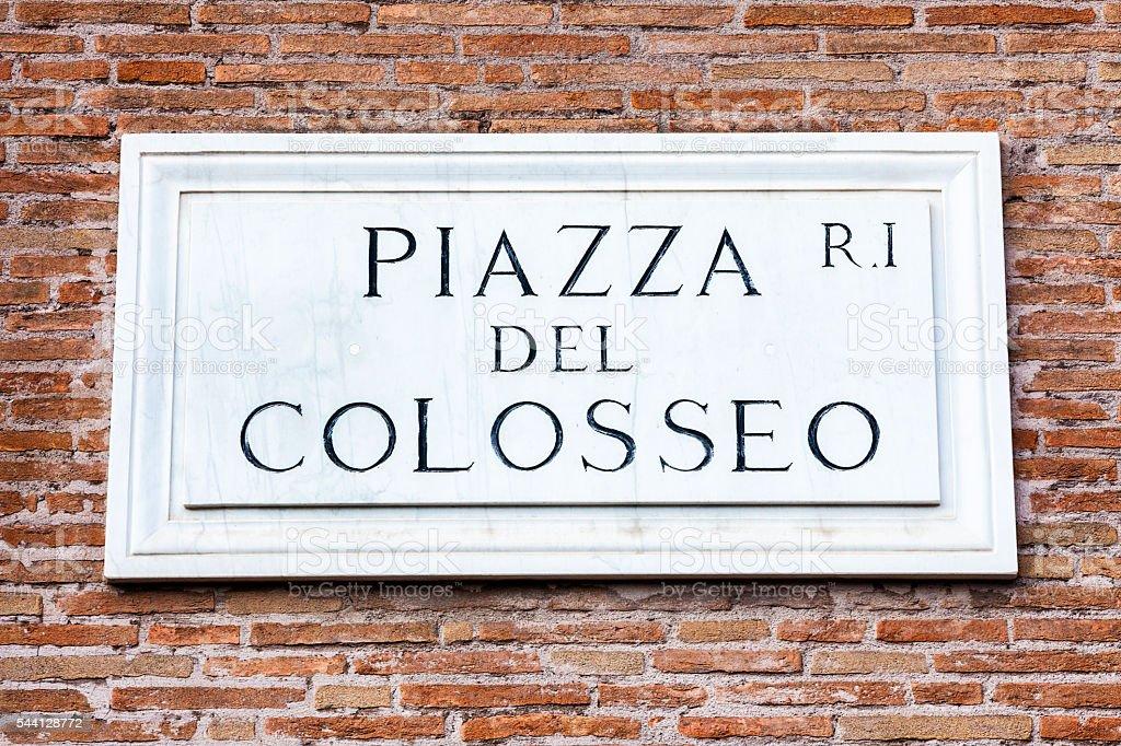 Piazza Del Colosseo Plaque in Rome, Italy stock photo