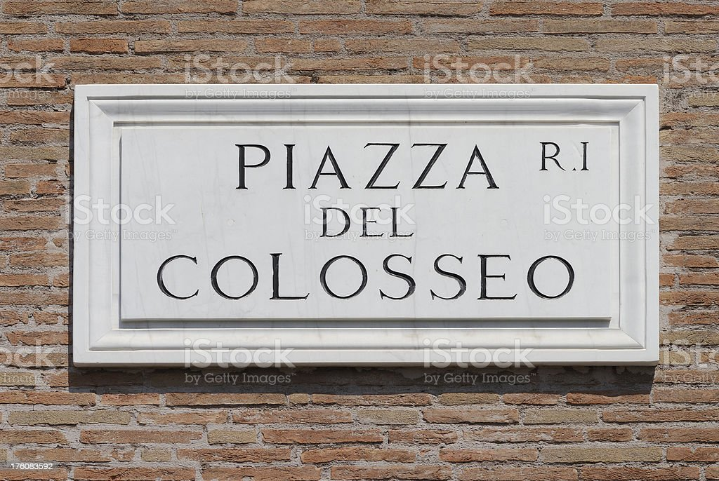 Piazza del Colosseo Sign royalty-free stock photo