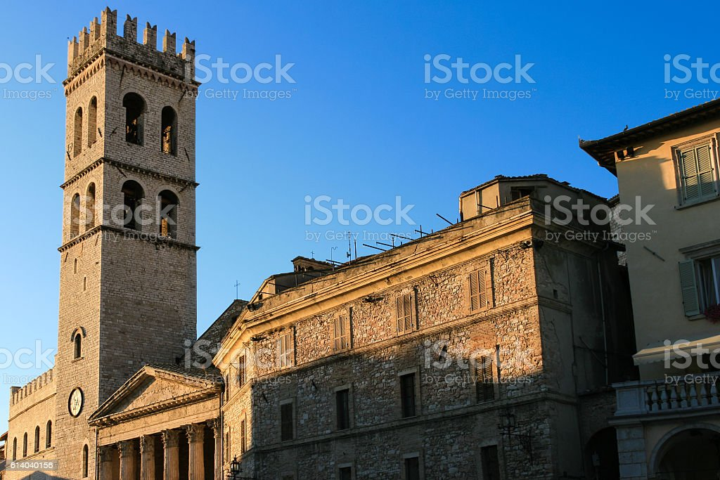 Piazza del Comune at Sunset, Assisi, Umbria, Italy. stock photo