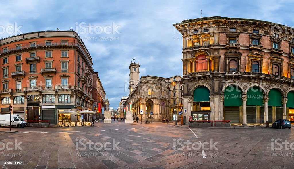 Piazza del Duomo and Via dei Mercanti in the Morning stock photo