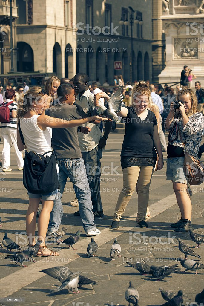 Piazza del Duomo area and tourists stock photo