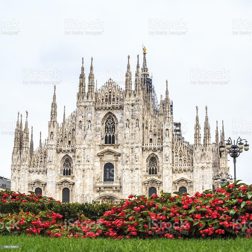 Piazza del Duomo of Milan, Italy. stock photo