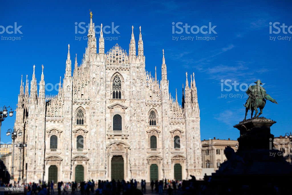 Piazza del Duomo of Milan, Italy, Tilt Shift Lens royalty-free stock photo