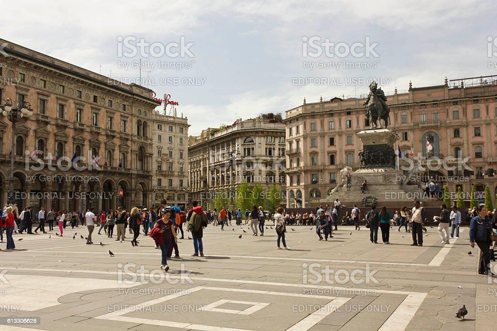 Piazza del Duomo square in Milan stock photo