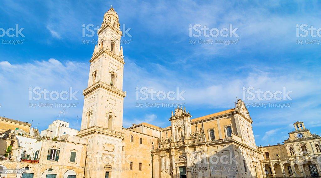 Piazza del Duomo square with Cathedral in Lecce stock photo