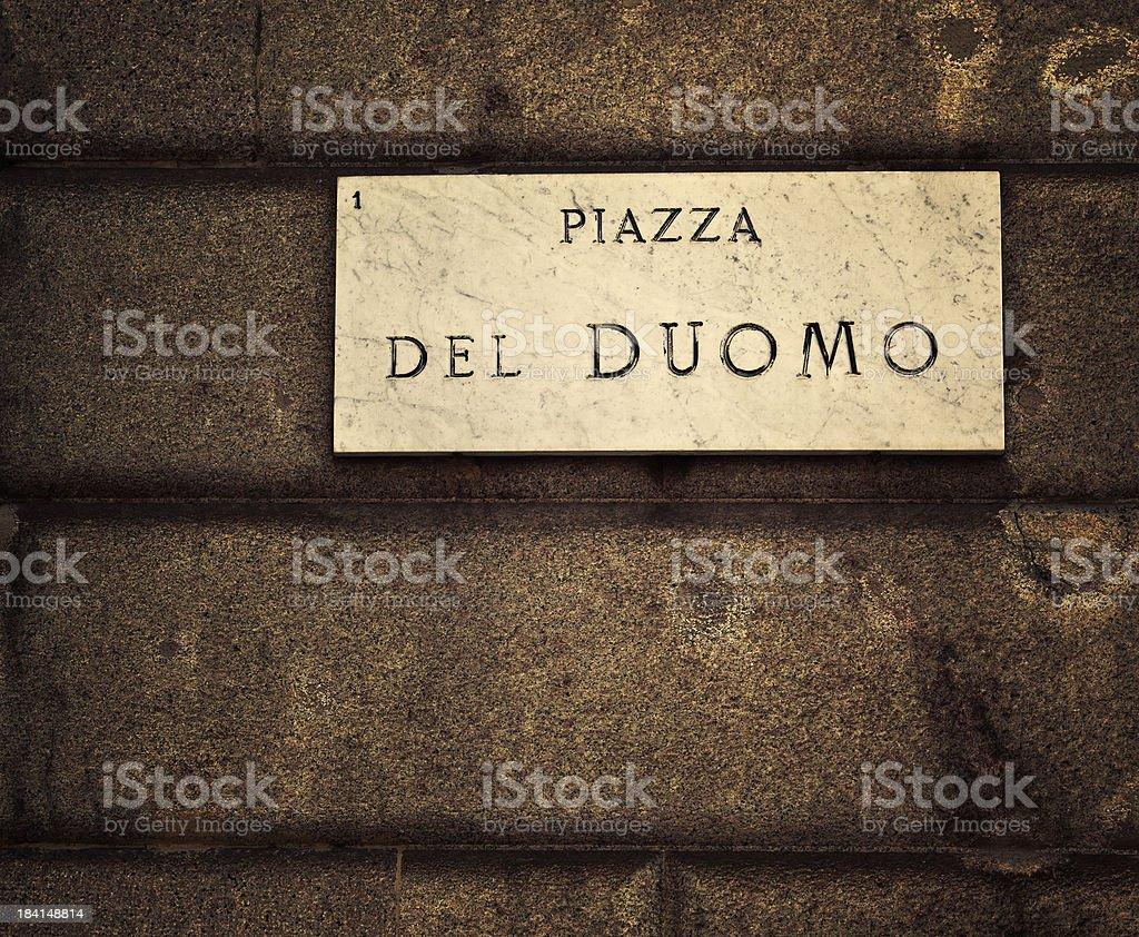 piazza del duomo street name sign stock photo