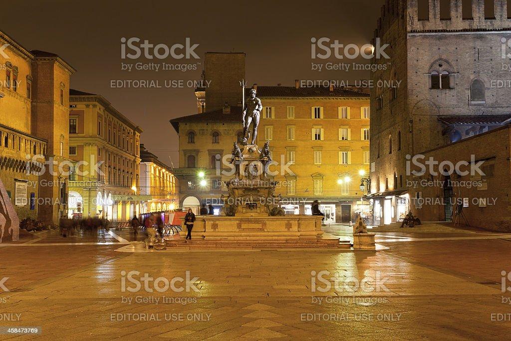 Piazza del Nettuno in Bologna at night stock photo