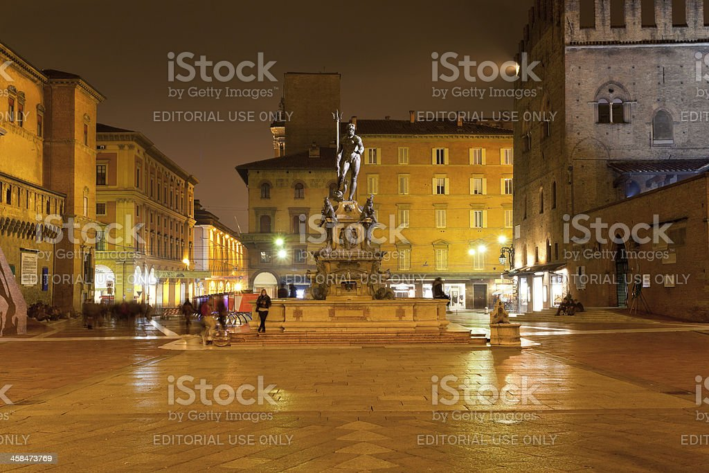 Piazza del Nettuno in Bologna at night stock photo