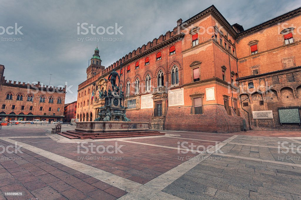 Piazza del Nettuno in Bologna, Italy Landmark stock photo