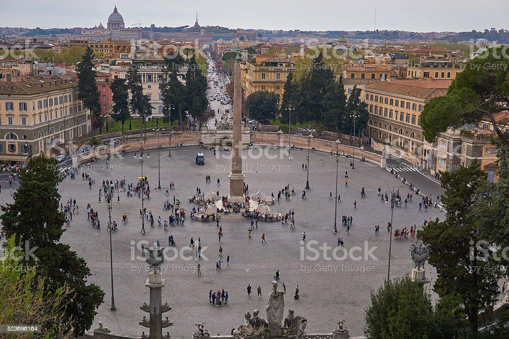 Piazza del popolo, aerial view stock photo