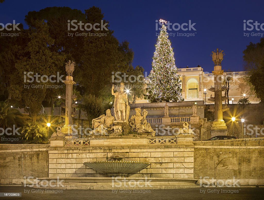 Piazza del Popolo and Christmas tree in Rome,  Italy stock photo