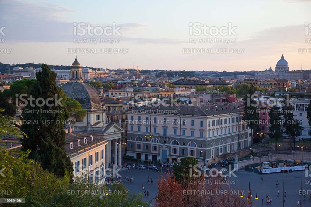 Piazza del Popolo at sunset, Rome, Italy royalty-free stock photo