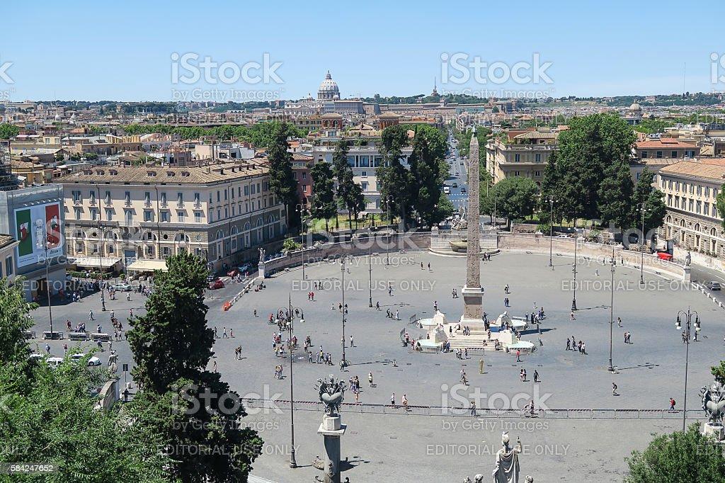Piazza del Popolo fountain and obelisk view from Pincio stock photo
