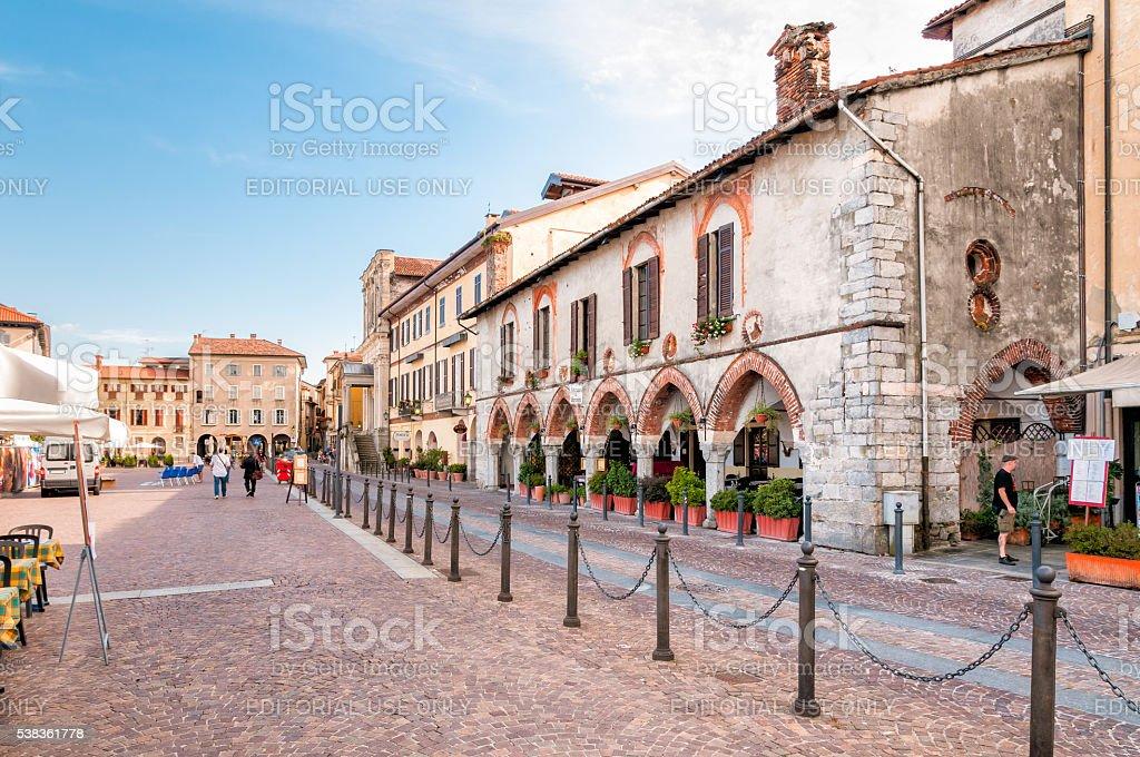 Piazza Del Popolo in the city center of Arona stock photo