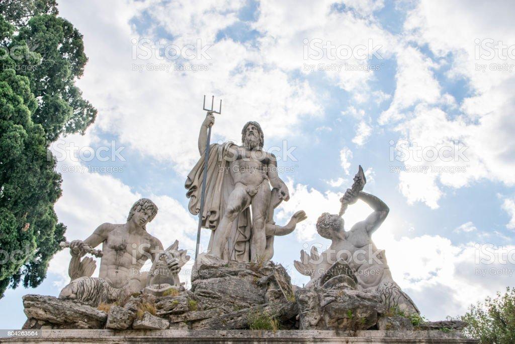 Piazza del Popolo (People's Square) Neptune Fountain in Rome, Italy stock photo