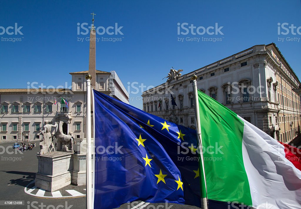 Piazza del Quirinale, Italian and EU Flags in Foreground, Rome stock photo