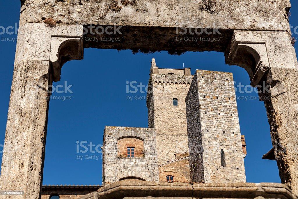 Piazza della Cisterna in San Gimignano stock photo