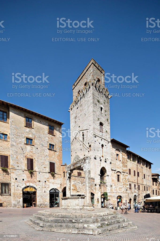 Piazza della cisterna in San Gimignano. Tuscany, Italy. royalty-free stock photo