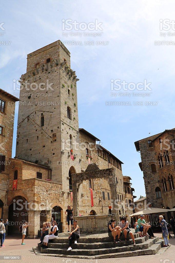 Piazza della Cisterna in San Gimignano, Tuscany Italy stock photo