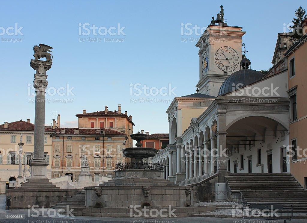 Piazza della Liberta in Udine,Italy at sunrise time. stock photo