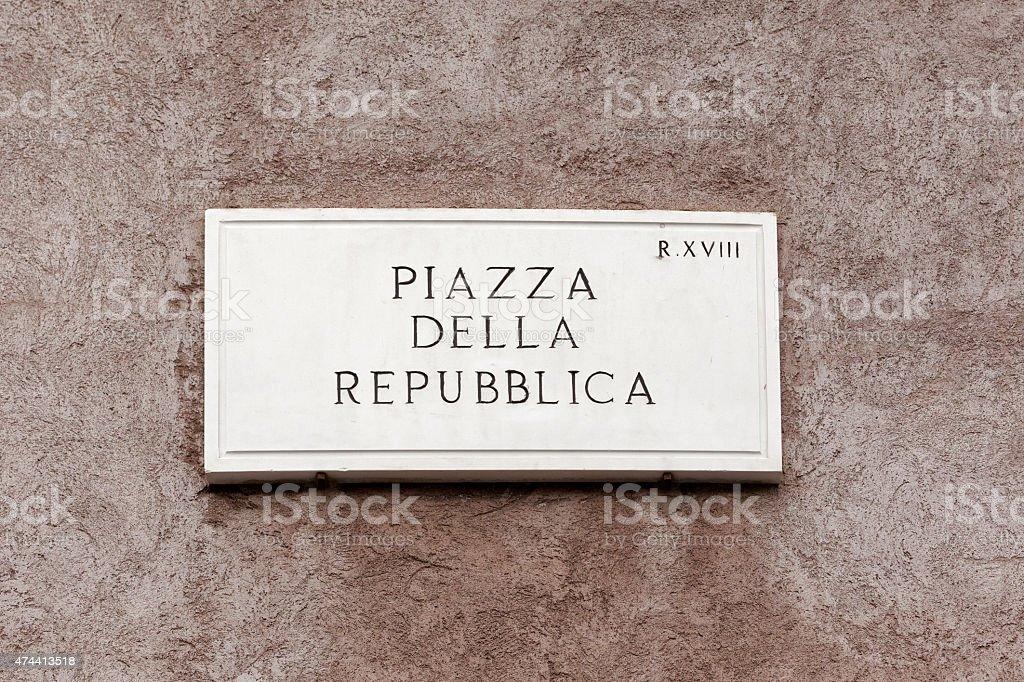 Piazza Della Repubblica  street sign in Rome, Italy stock photo