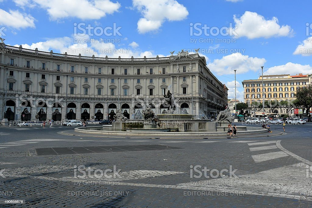 Piazza della Republica, Fontana delle Naiadi in Rome stock photo