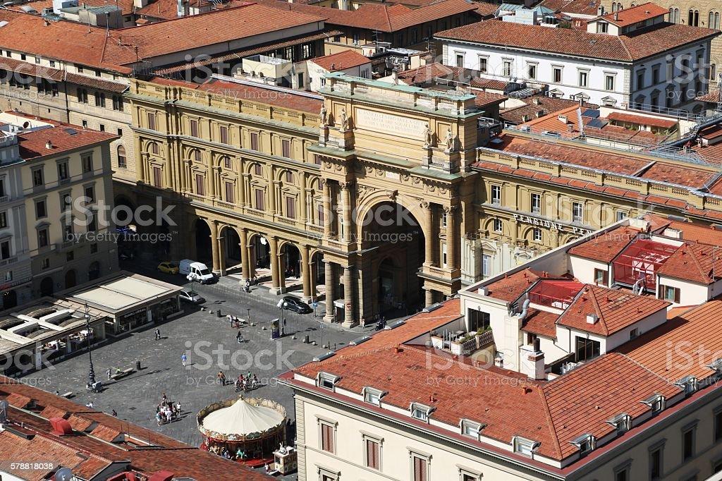 Piazza della Republica in Florence, Tuscany Italy stock photo