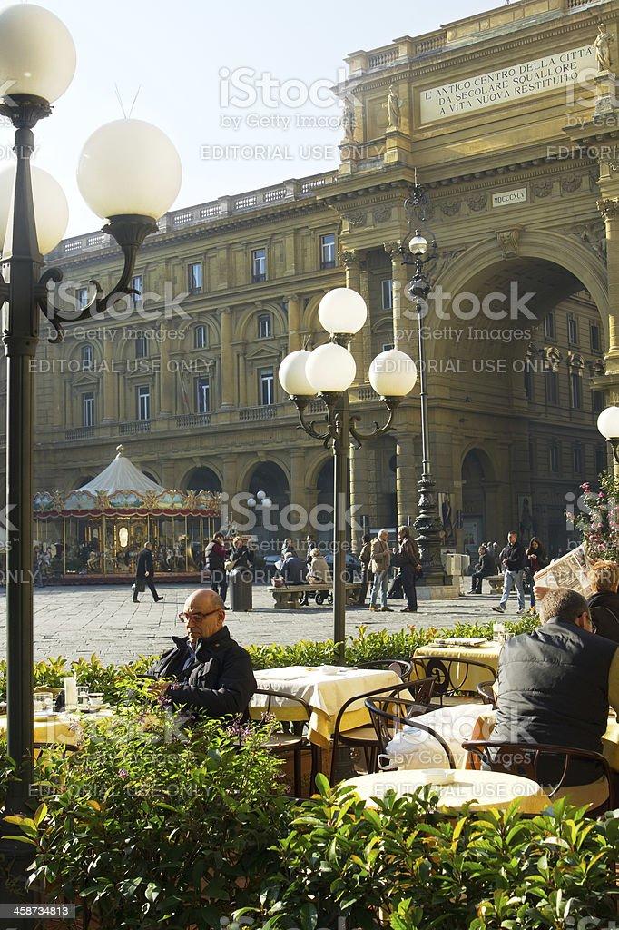 Piazza della Republica square in the morning stock photo