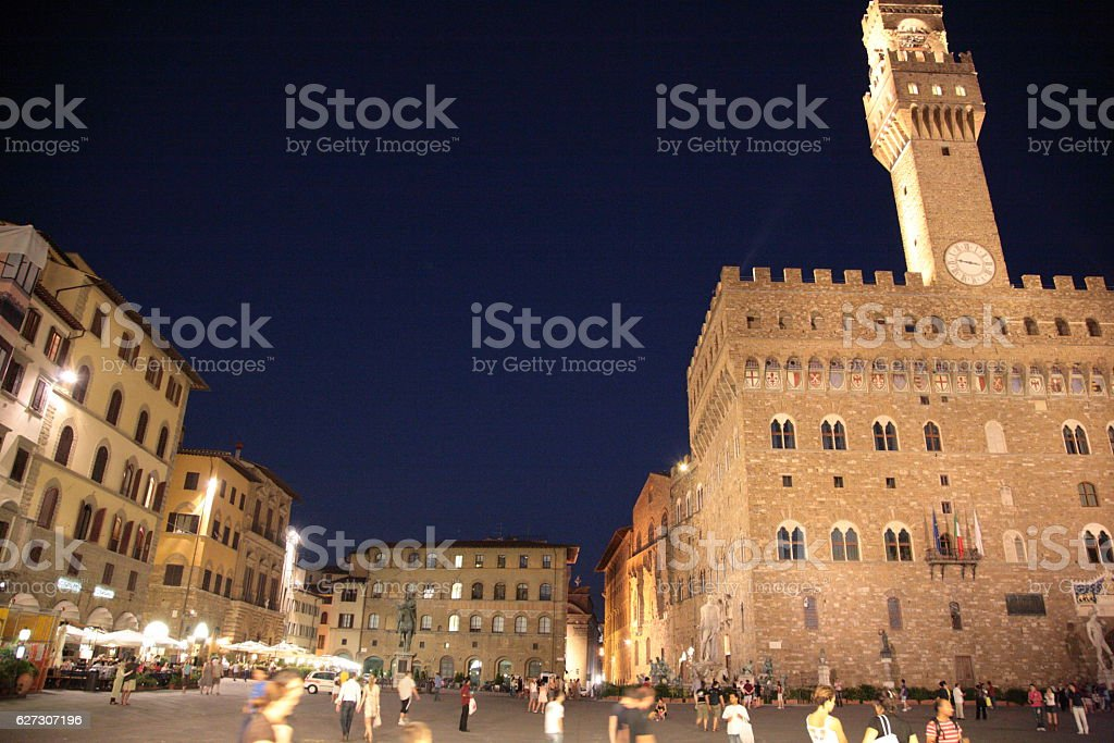 Piazza della Signoria at night, Florence, Italy stock photo