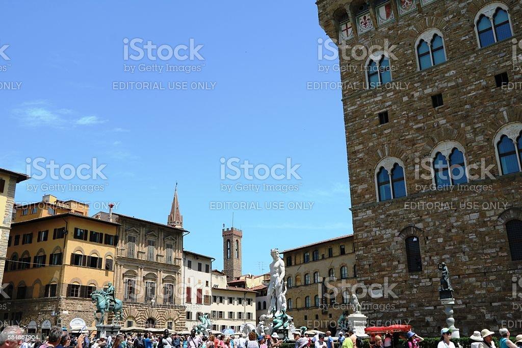 Piazza della Signoria Palazzo Vecchio under blue sky, Florence, Italy stock photo