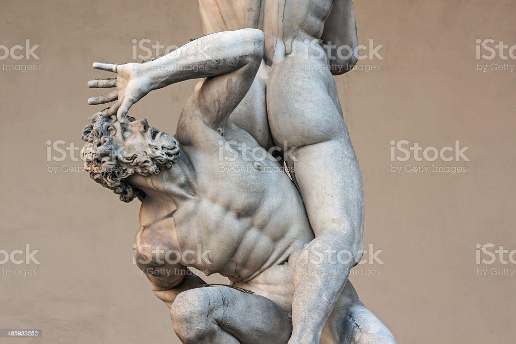 Piazza della Signoria, sculpture Rape of the Sabines by Giambologna stock photo