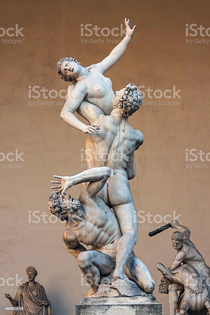 Piazza della Signoria, sculpture Rape of the Sabines stock photo