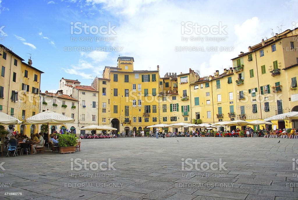Piazza dell'Anfiteatro in Lucca royalty-free stock photo