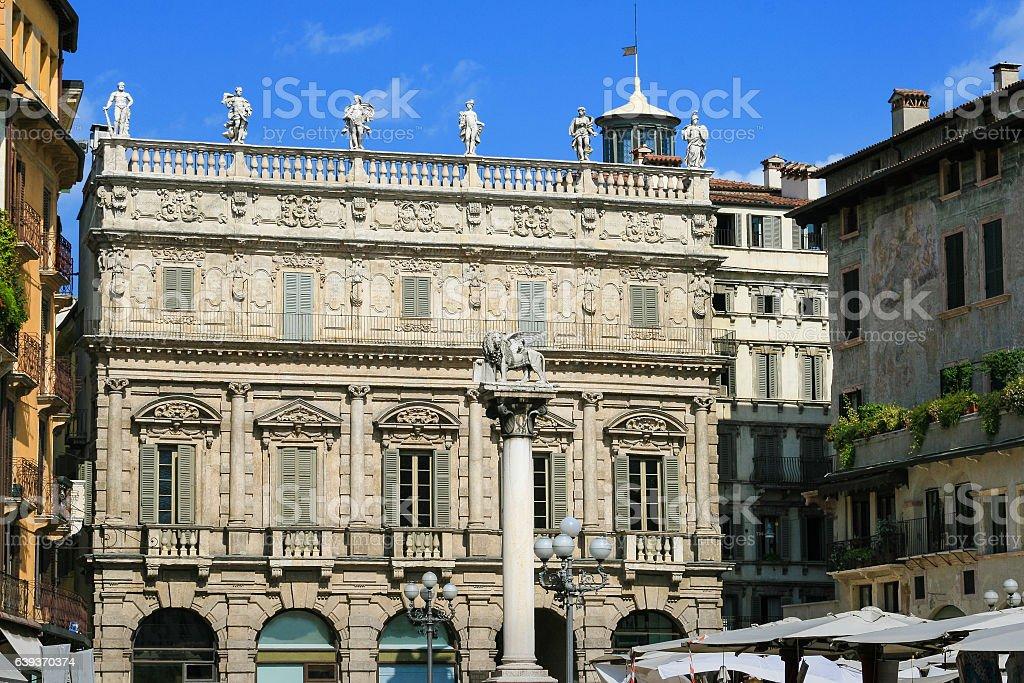 Piazza delle Erbe and Palazzo Maffei, Verona, Italy. stock photo